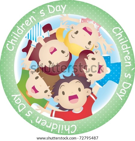 Happy Anniversary day with cheerful children isolated on white background : vector illustration - stock vector