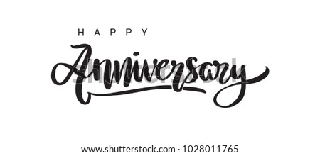 happy anniversary lettering text banner black color vector illustration