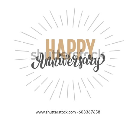Happy Anniversary Lettering Text Banner Vector Stock