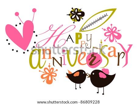 Happy anniversary script card - stock vector
