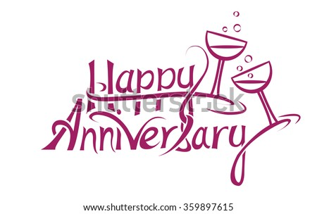 Happy Anniversary Sign Letter Design Stock Vector 359897615 ...
