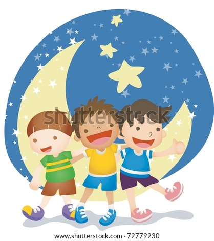Happy Anniversary with Global Friends - playing in the moonlight with cute and cheerful young children on a background of beautiful night blue sky : vector illustration - stock vector