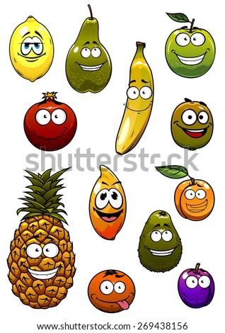 Happy apple, banana, orange, plum, avocado, pineapple, lemon, pear, kiwi, apricot, pomegranate fruits cartoon characters for healthy nutrition concept or vegetarian concept design - stock vector