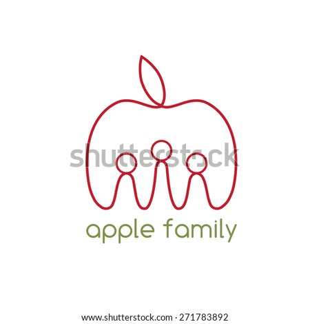 happy apple family vector design template - stock vector