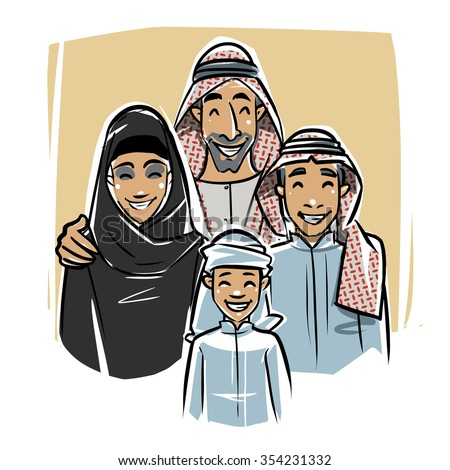 Happy Arabic Family illustration - stock vector