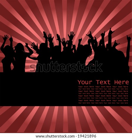 Happy Audience peoples silhouettes - stock vector