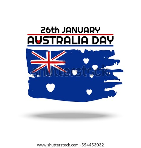 Happy Australia day 26 january festive background with flag. National colors. Blue, red, white. Template design layout for card, banner, poster, flyer, card. Stars on flag stylized hearts