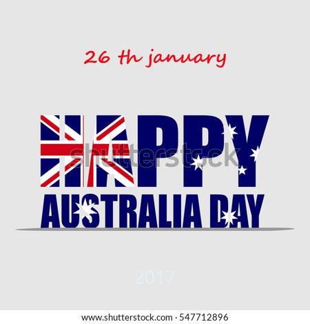 Happy Australia day 26 january. Inscription shape of flag. Greeting card, vector illustration.