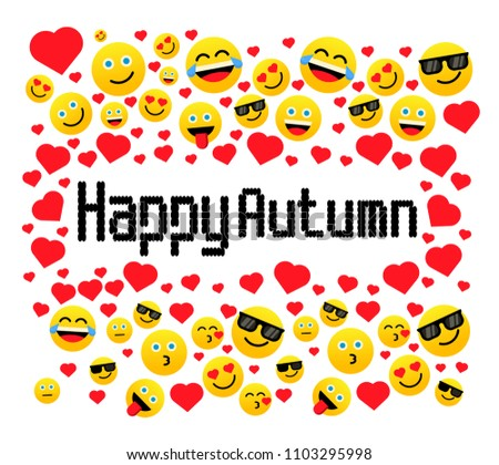 happy autumn, greeting card with emoji or emoticon. vector with eps 10 format