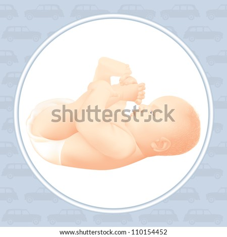 happy baby boy playing with his feet, isolated - car - cab blue pattern, white background - stock vector
