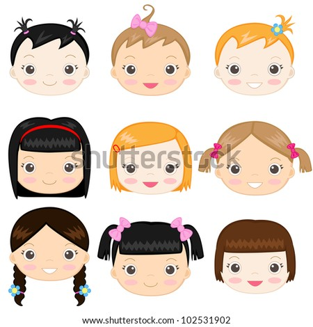 Happy baby girl's faces - stock vector