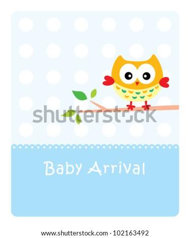 happy baby owl arrival - stock vector