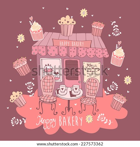 Happy bakery card with cupcakes.  - stock vector