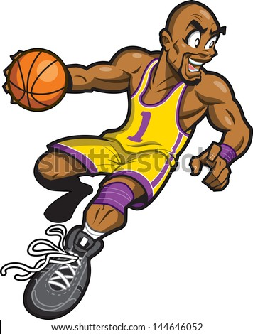 Happy Bald Black Basketball Player Smiling and Dribbling the Ball - stock vector