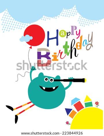 Happy Balloon Flying Monster Birthday Card. Editable Vector illustration - stock vector