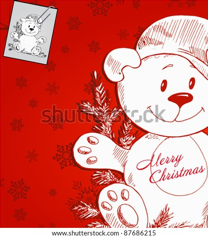 happy bear with christmas hat and tree - hand-drawn christmas illustration - stock vector