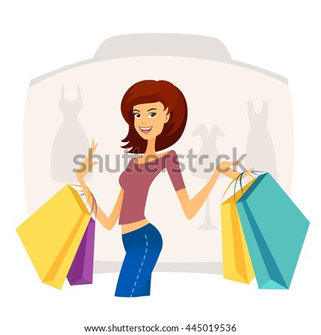 Happy beautiful young woman with shopping bags in shopping mall - stock vector