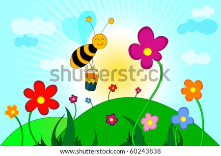 happy bee flying among flowers - stock vector