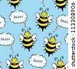 Happy bee seamless pattern - stock vector