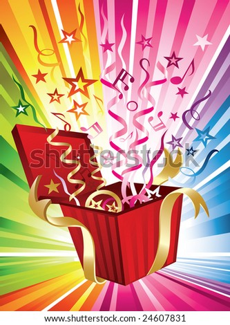 Happy Birthday! A festive and multicolored design with confetti coming out of a present - stock vector