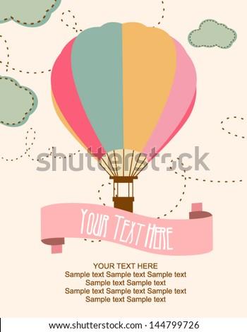 Happy Birthday air balloon card - stock vector