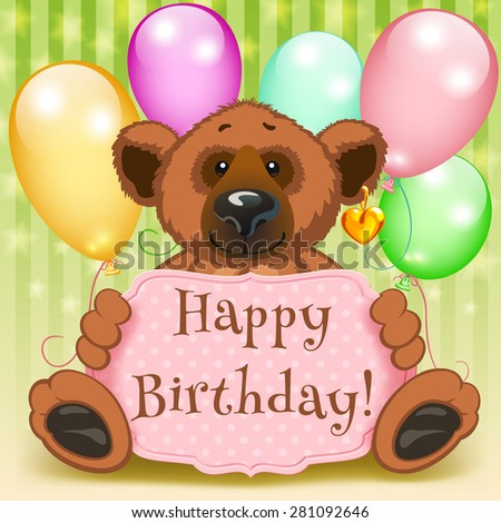 Happy birthday and five multicolored balloons gift - stock vector