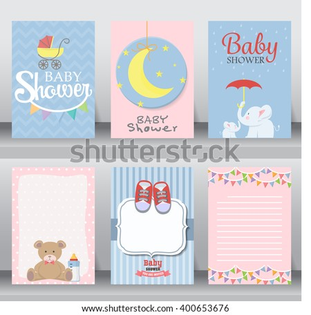 happy birthday, baby shower for newborn celebration greeting and invitation card or note.  there are shoes, moon, dress. layout template in A4 size. vector illustration. text can be added - stock vector