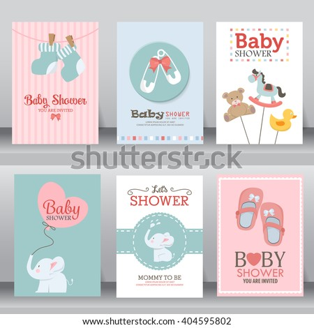 happy birthday, baby shower for newborn celebration greeting and invitation card or note.  there are shoes, elephant, teddy bear, brooch, heart, toy. layout template in A4 size. vector illustration. - stock vector