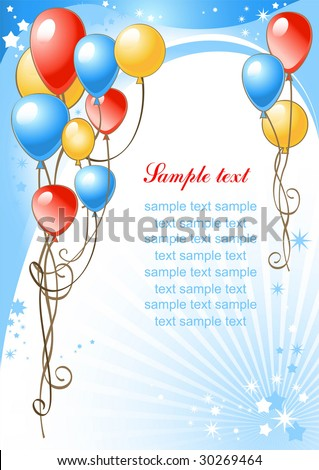happy birthday background with balloons - stock vector