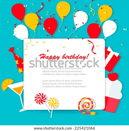 Happy Birthday background with flat icons set, vector illustration. Party and celebration design elements: balloons, confetti and streamers, cupcake, drink, gifts etc.   - stock vector