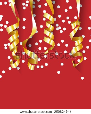 Happy Birthday Background with Paper Gold Streamers. Vector Illustration. - stock vector