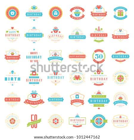 Happy Birthday Badges Labels Vector Design Stock Vector 1012447162