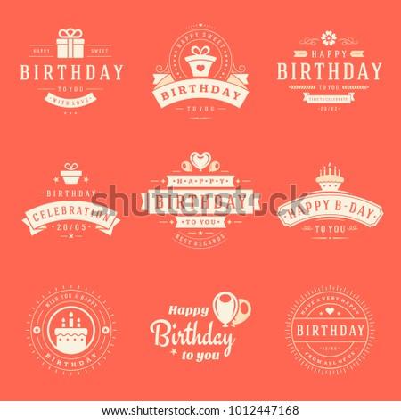 Happy Birthday Badges Labels Vector Design Stock Vector 1012447168