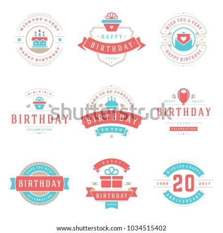 Happy Birthday Badges Labels Vector Design Stock Vector 1034515402