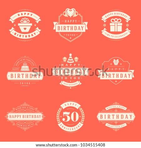 Happy Birthday Badges Labels Vector Design Stock Vector 1034515408