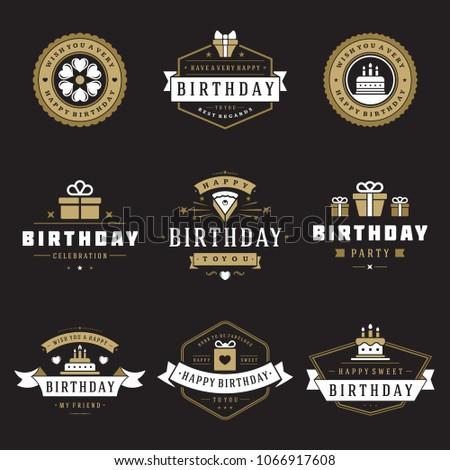 Happy Birthday Badges Labels Vector Design Stock Vector 1066917608