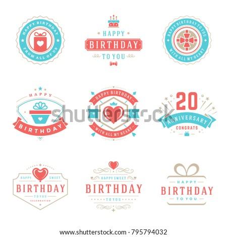 Happy Birthday Badges Labels Vector Design Stock Vector 795794032