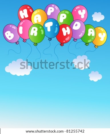 Happy birthday balloons on blue sky - vector illustration. - stock vector