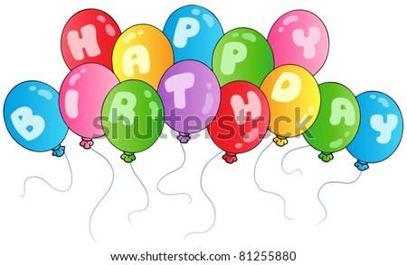 Happy birthday balloons - vector illustration. - stock vector