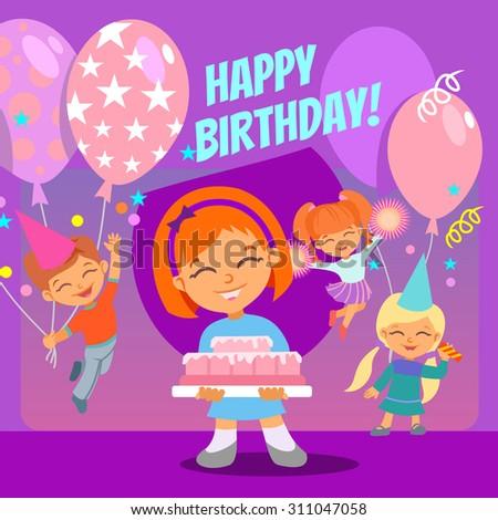 happy birthday banner cute children celebrating stock vector