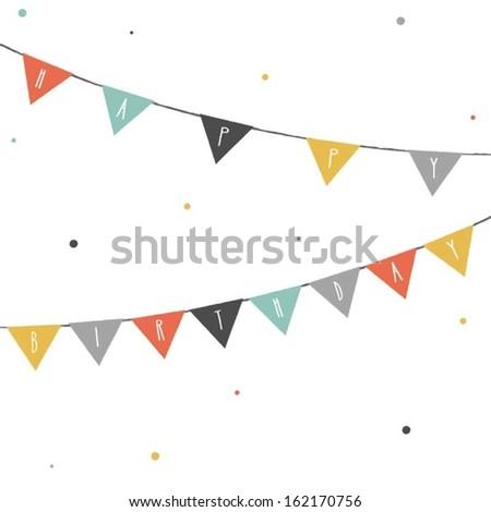 Happy Birthday Banners - stock vector