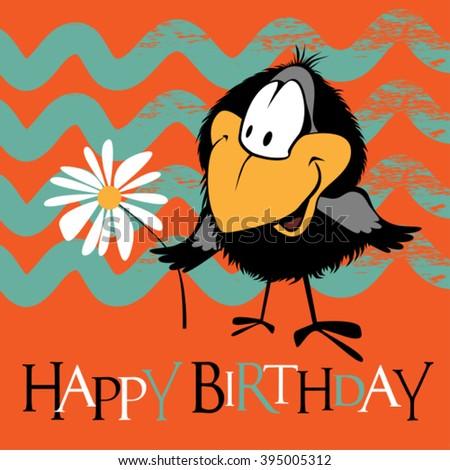 Happy Birthday birds smile - stock vector