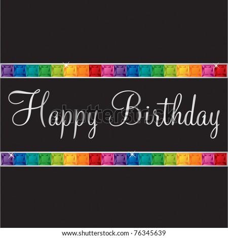 Happy Birthday bling card in vector format. - stock vector