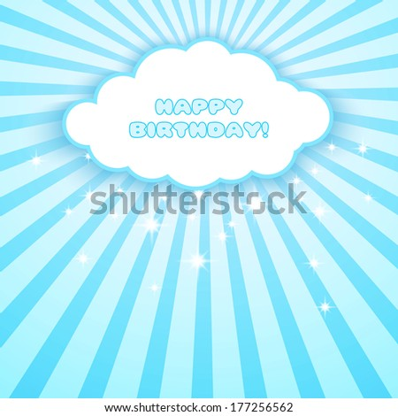 Happy birthday. Blue abstract background with stars,stripes and speech bubble