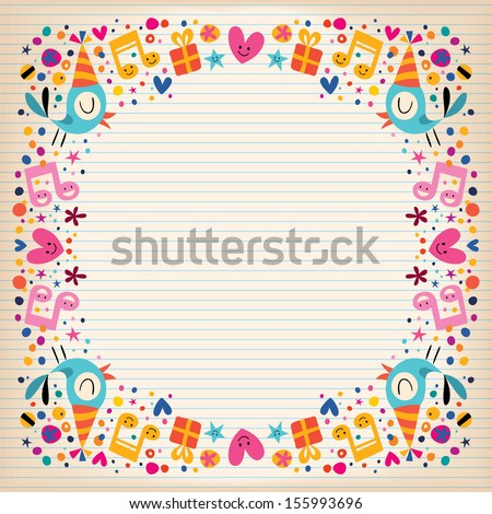 Happy Birthday border lined paper card - stock vector