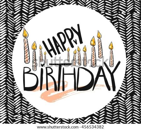 Happy Birthday Brush Script Style Hand lettering. Retro Vintage Custom Typographic Composition on zig zag background.Original Hand Crafted Design.Calligraphic Phrase.Original Drawn Vector Illustration - stock vector