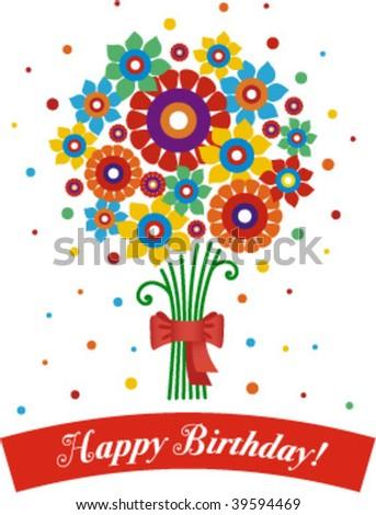 happy birthday bunch - stock vector