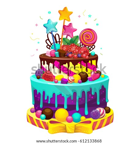 Happy Birthday Cake Bright Vector Isolated Stock Vector 2018