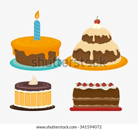 Happy birthday cake dessert graphic design, vector illustration eps10