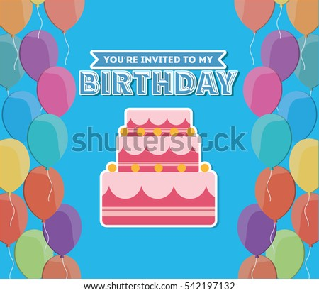 Double Layered Birthday Cake Drawing Card